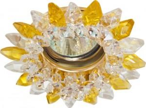 CD2315, светильник потолочный, MR16 G5.3 с прозрачным-желтым стеклом, золото, с лампой