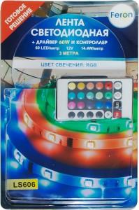 LS606, комплект светодиодной ленты с драйвером 60W, 60SMD(5050)/m 14.4W/m 12V мультиколор на белом 3 метра