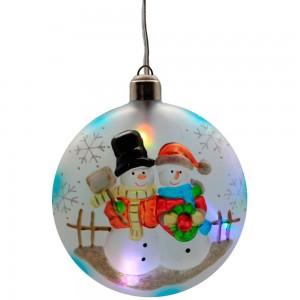 """LT050 Новогоднее украшение на батарейках """"Шар со снеговиком"""""""