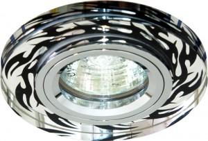8015-2, светильник потолочный, MR16 50W G5.3, серебро-черный рисунок