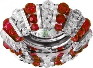 CD2121, светильник потолочный, MR16 G5.3 с прозрачным и  красным стеклом, хром, с лампой
