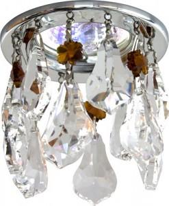 CD4208, светильник потолочный, MR16 G5.3 прозрачный + коричневый, хром