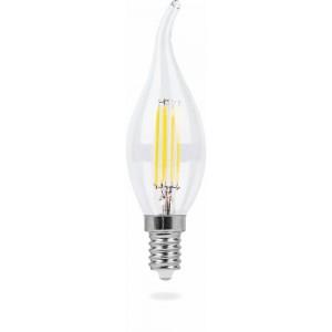 LB-69, 4LED(5W) 230V E14 4000K филамент свеча на ветру диммируемая, лампа светодиодная