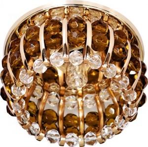 CD2119, светильник потолочный, JCD9 G9 с прозрачным и коричневым стеклом, золото, с лампой