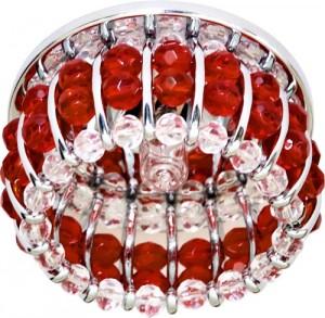 CD2119, светильник потолочный, JCD9 G9 с прозрачным и красным стеклом, хром, с лампой