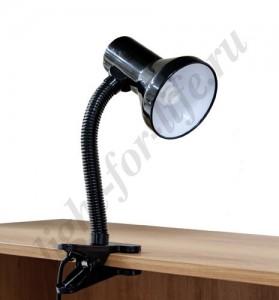 DE1622, светильник на прищепке, ESB 9W 230V Е27 черный c лампой