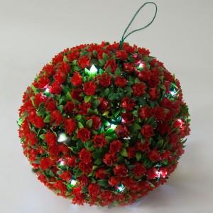 E5209, садовый подвесной цветок-светильник «Цветочный шар», красный, 20 LED (белый), D 28 см