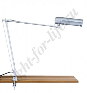 DE1405, настольная лампа на струбцине, ESB 9W 230V Е27 серебро c лампой