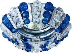 CD2121, светильник потолочный, MR16 G5.3 с прозрачным и  синим стеклом, хром, с лампой