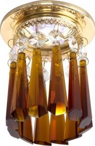A237, светильник потолочный, JCDR G5.3 с коричневым стеклом, золото, с лампой