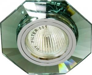 8120-2, светильник потолочный, MR16 G5.3 зеленый, серебро