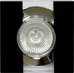 """C2022SQBK, светильник потолочный,  """"квадрат"""" прозрачный-черный (с лампой)"""