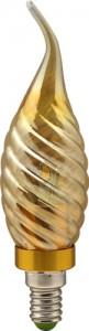 LB-78, лампа светодиодная, 6LED(3.5W) 230V E14 2700K свеча на ветру золотая золото