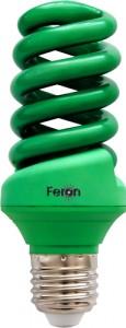 ELSM51B-Color, лампа энергосберегающая, 20W 230V E27 спираль T3 зеленая