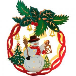 """LT068,  деревянная световая фигура """"Новогодний шар со снеговиком"""""""
