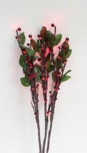"""LD218B Светодиодная декоративная ветка """"Красные ягоды с листьями"""""""