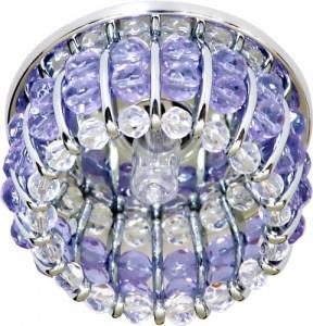 CD2119, светильник потолочный, JCD9 G9 с прозрачным и сиреневым стеклом, хром, с лампой