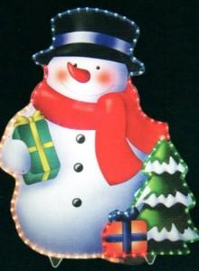 LT017, световая фигура - снеговик, цвет свечения - разноцветный