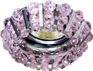 CD2121, светильник потолочный, JCDR G5.3 с  розовым стеклом, хром, с лампой