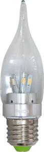 LB-71, лампа светодиодная, 6LED(3.5W) 230V E27 6400K свеча на ветру хром