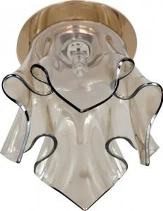 CD2213, светильник потолочный, JCD9 40W G9 с коричневым стеклом, золото