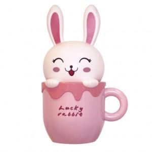WL22, светильник-ночник, зайка в кружке, розовый, цвет свечения: теплый белый