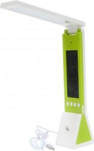DE1711, настольный светильник светодиодный, с жк дисплеем, часами, будильником, термометром, диммером, фонарем, зеленый