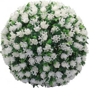 E5209, садовый подвесной цветок-светильник «Цветочный шар», белый, 20 LED (белый), D 28 см
