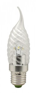 LB-78, лампа светодиодная, 6LED(3.5W) 230V E27 4000K свеча на ветру хром