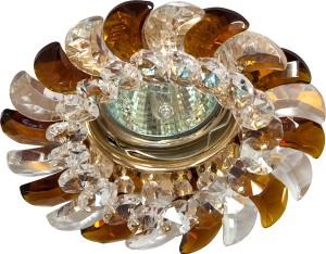 CD2316, светильник потолочный, MR16 G5.3 с прозрачным-коричневым стеклом, золото, с лампой