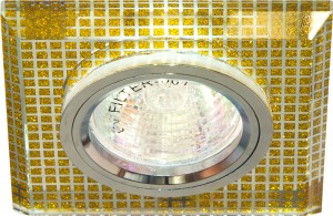 8141-2, светильник потолочный встраиваемый, MR16 G5.3 прозрачный/золото, серебро