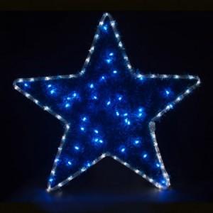 LT015, световая фигура - звезда, цвет свечения - белый (дюралайт), синий (гирлянда)
