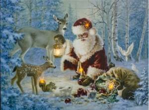 """LT113 Световая новогодняя картина на батарейках с внутренней подсветкой """"Санта Клаус"""""""