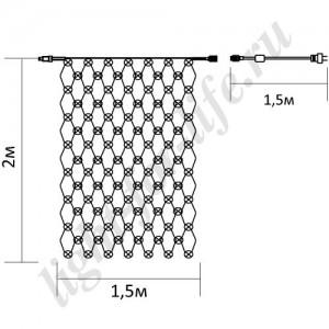 """CL30, гирлянда """"сеть"""", цвет свечения - белый (4000К), для помещения"""