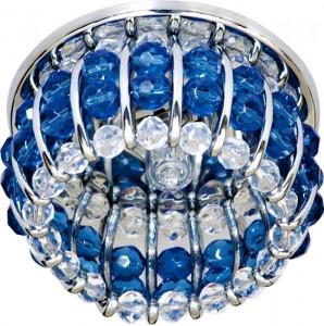 CD2119, светильник потолочный, JCD9 G9 с прозрачным и синим стеклом, хром, с лампой