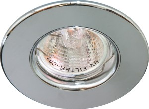 DL108-С, светильник потолочный встраиваемый, MR16  12V G5.3 хром/хром