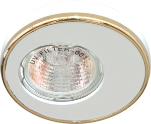 DL1A, светильник потолочный встраиваемый, MR16  12V G5.3 белый/золото