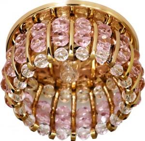 CD2119, светильник потолочный, JCD9 35W G9 с прозрачным-розовым стеклом, золото