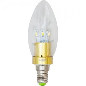 LB-70, лампа светодиодная, 6LED(3.5W) 230V E14 6400K свеча золото