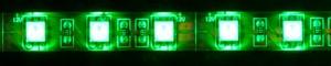 LS607, светодиодная лента влагозащищенная, цвет свечения: зеленый, 5m, 14.4W/m
