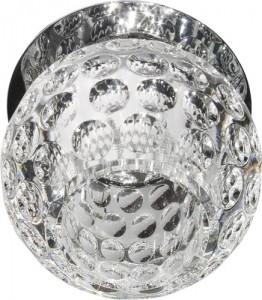 C1033S, светильник потолочный, JCD9 G9 с прозрачным стеклом, с лампой, хром
