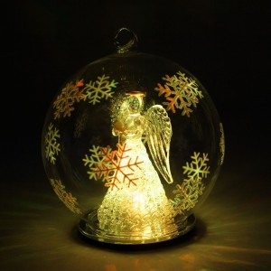 """LT051,  новогоднее украшение на батарейках """"Шар с ангелом"""""""