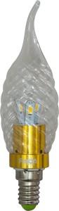 LB-78, лампа светодиодная, 6LED(3.5W) 230V E14 6400K свеча на ветру золото