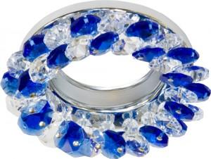 CD4141, светильник потолочный, MR16 G5.3 с синим стеклом, хром, с лампой