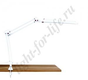 DE1210, настольная лампа на струбцине, ESТ 11W 230V 2G7 белый с лампой