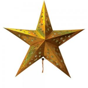 """LT101 Новогоднее украшение """"звезда"""" на батарейках золото"""