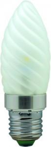 LB-77, лампа светодиодная, 6LED(3.5W) 230V E27 6400K свеча матовая хром