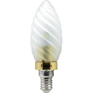 LB-77, лампа светодиодная, 6LED(3.5W) 230V E14 6400K свеча матовая золото