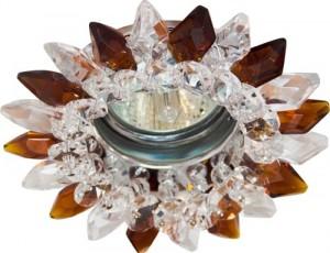 CD2315, светильник потолочный, MR16 G5.3 с прозрачным-коричневым стеклом, хром, с лампой
