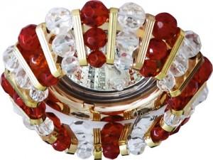 CD2121, светильник потолочный, MR16 G5.3 с прозрачным и  красным стеклом, золото, с лампой